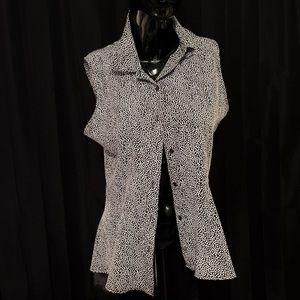 Harve Benard Sz lg sleeveless blouse Blk/wht